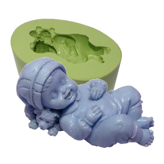 Molde Bebê Deitado no Urso